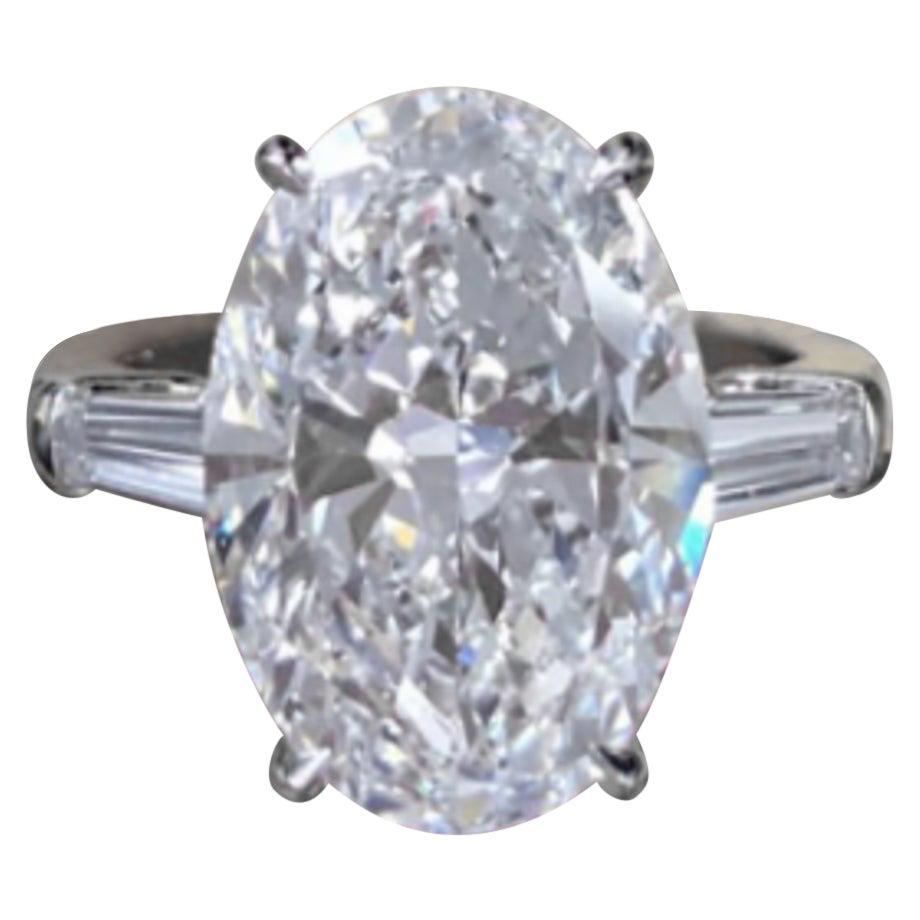 IGI Certified 6 Carat Oval Diamond Solitaire Engagement Ring VVS1 Clarity