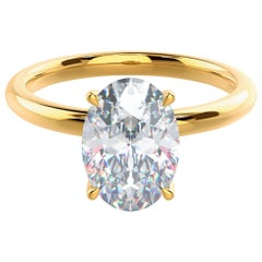 IGI Certified 3 Carat Oval Diamond Solitaire Ring D Color 100% Eye Clean