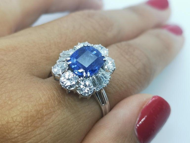 Cushion Cut IGI Certified 5.30 Carat Natural Unheated Sapphire Diamond Ring For Sale