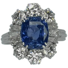 IGI Certified 5.30 Carat Natural Unheated Sapphire Diamond Ring