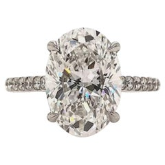GIA Certified 4 Carat Oval Natural Diamond Ring