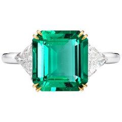 IGI Certified 5.90 Carat Minor Oil Green Emerald Diamond Ring
