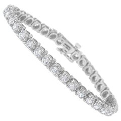 IGI Certified 7.0 Cttw Round Diamond 14k White Gold Hinged Tennis Bracelet