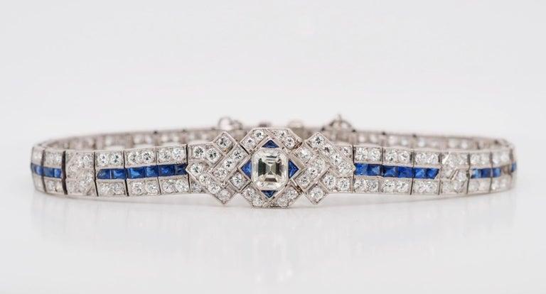 Women's or Men's IGI Certified Art Deco Platinum Diamond and Sapphire Bracelet For Sale