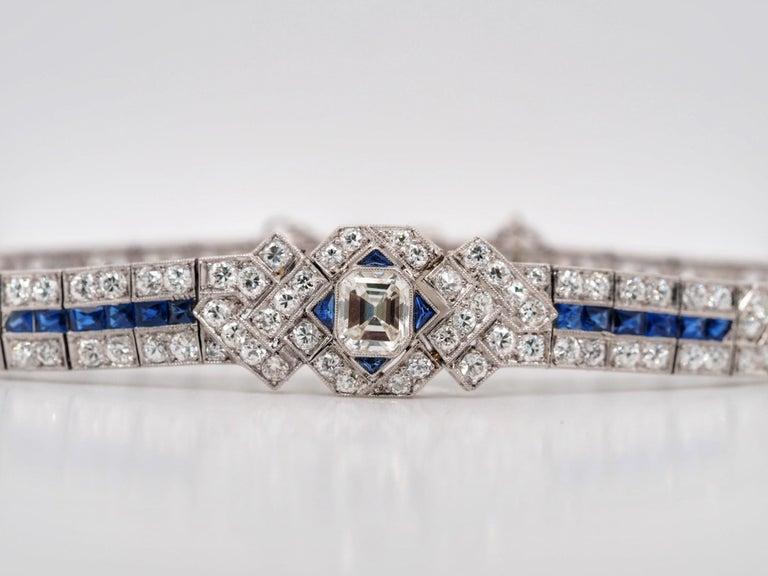 IGI Certified Art Deco Platinum Diamond and Sapphire Bracelet For Sale 1