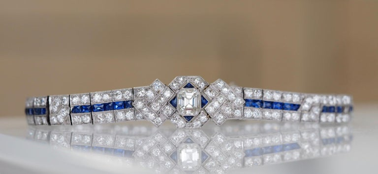 IGI Certified Art Deco Platinum Diamond and Sapphire Bracelet For Sale 2
