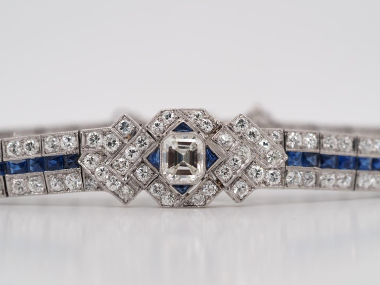 IGI Certified Art Deco Platinum Diamond and Sapphire Bracelet For Sale 3