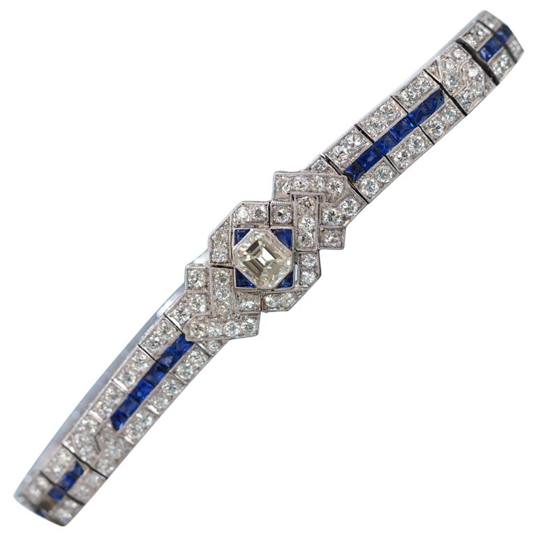 IGI Certified Art Deco Platinum Diamond and Sapphire Bracelet For Sale