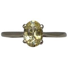 IGI Certified Ceylon Yellow Sapphire Oval Cut 14 Karat White Gold Solitaire Ring