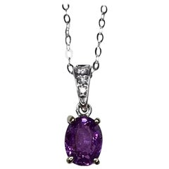 IGI Certified Color Change Pink Purple Sapphire Diamond 18k Pendant 0.85 Carat