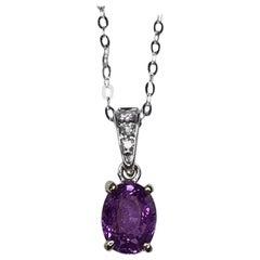 IGI Certified Colour Change Pink Purple Sapphire Diamond 18k Pendant 0.85ct