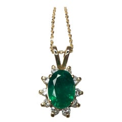 IGI Certified Deep Green Emerald and Diamond Cluster Halo Gold Pendant Necklace