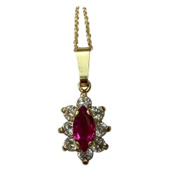 IGI Certified Untreated Burma Deep Red Ruby Diamond Yellow Gold Pendant Necklace