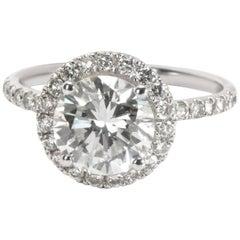 IGI Certified Diamond Halo Engagement Ring in 14 Karat White Gold