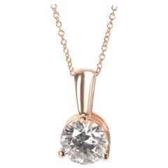 IGI Certified Diamond Solitaire Necklace in 14K Rose Gold I-J VS1-VS2 3.06Carats