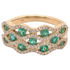 IGI Certified Emerald and Diamond 14k Yellow Gold Ring