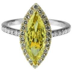 IGI Certified Fancy Deep Yellow diamond 1.48 Carat Marquise Brilliant Cut ring