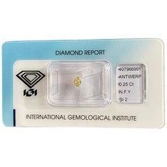 IGI Certified Fancy Yellow Diamond Untreated 0.25 Carat Oval Cut Sealed Blister