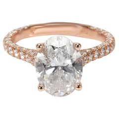 IGI Certified Halo Diamond Ring in 18 Karat Rose Gold G SI1 2.76 Carat