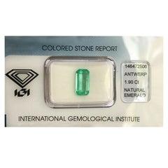 IGI Certified Loose Colombian Emerald 1.90 Carat Fancy Emerald Cut Green Gem