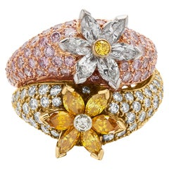 Yessayan Certified Natural Fancy Pink, Yellow, White Diamonds Cocktail Ring