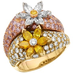IGI Certified Natural Fancy Color Pink, Yellow, White Diamonds Cocktail Ring