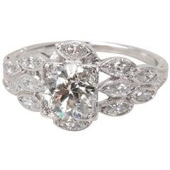 IGI Certified Old Euro Cut Diamond Engagement Ring in Platinum '1.50 Carat'