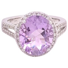 IGI Certified Oval Amethyst and Diamond 14k White Gold Halo Ring