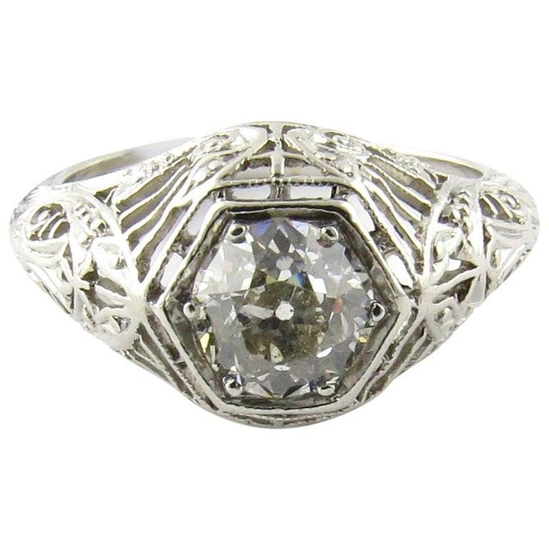Platinum Engagement Rings Sale Uk: IGI Certified Platinum European Cut Diamond Filigree