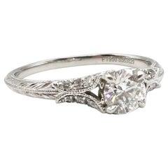 IGI Certified Round Brilliant 0.71 Carat I SI2 Diamond Platinum Engagement Ring