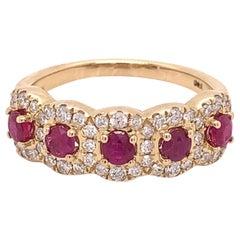 IGI Certified Ruby and Diamond 14K Yellow Gold Ring