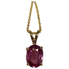IGI Certified Untreated 1.61ct Pink Purple Sapphire Solitaire Pendant Necklace