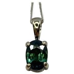 IGI Certified Untreated Bi Color Sapphire Blue Green Oval Cut Pendant Necklace