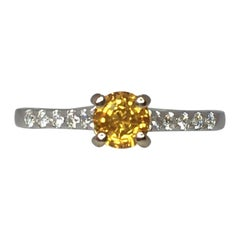 IGI Certified Untreated Ceylon Yellow Sapphire and Diamond 18 Karat Gold Ring