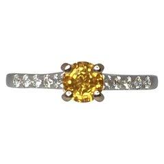 IGI Certified Untreated Ceylon Yellow Sapphire Diamond 18 Karat White Gold Ring