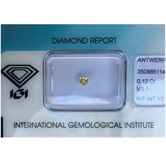 IGI Certified Untreated Fancy Intense Yellow Diamond Cushion Cut VS1 0.12 Carat