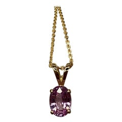 IGI Certified Untreated Pink Sapphire Oval Cut Gold Solitaire Pendant Necklace