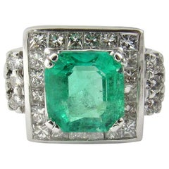 IGI Certified Vintage 17K and 14K White Gold Natural Square Emerald and Diamond