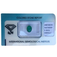 IGI Certified Zambian Emerald 1.18 Carat Green Oval Cut Blister Sealed Gem
