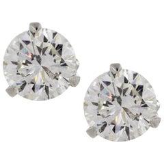 IGI HRD Certified 5.02 Carat Natural Diamond Studs 18 Carats White Gold