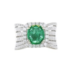 IGITL Certified 2.37 Carat Cushion Cut Emerald & Diamond Cocktail Ring in 18K