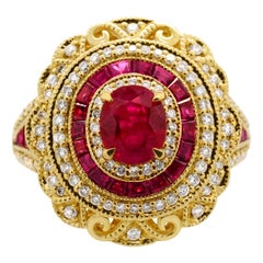 0.76 Carat Oval Ruby Baguette Diamond 14 Karat Yellow Gold Cocktail Ring