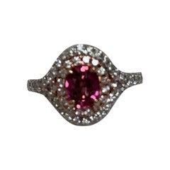 IGL Certified 1.10 Carat Padpardscha Sapphire Diamond Ring