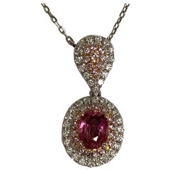 IGL Certified 1.13 Carat Padpardscha Sapphire and Diamond Pendant
