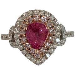 IGL Certified 1.20 Carat Padpardscha Sapphire and Diamonds Ring