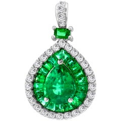 IGL Certified 1.49 Carat Pear Emerald 0.53 Diamond 14K Pendant Necklace