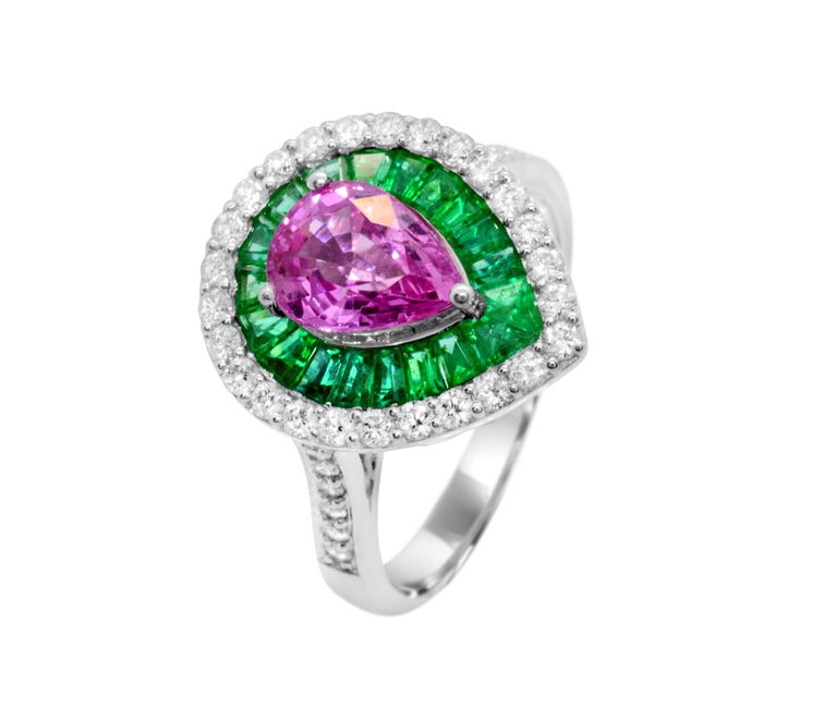 1 60 Carat Pear Pink Sapphire Emerald Diamond 14karat