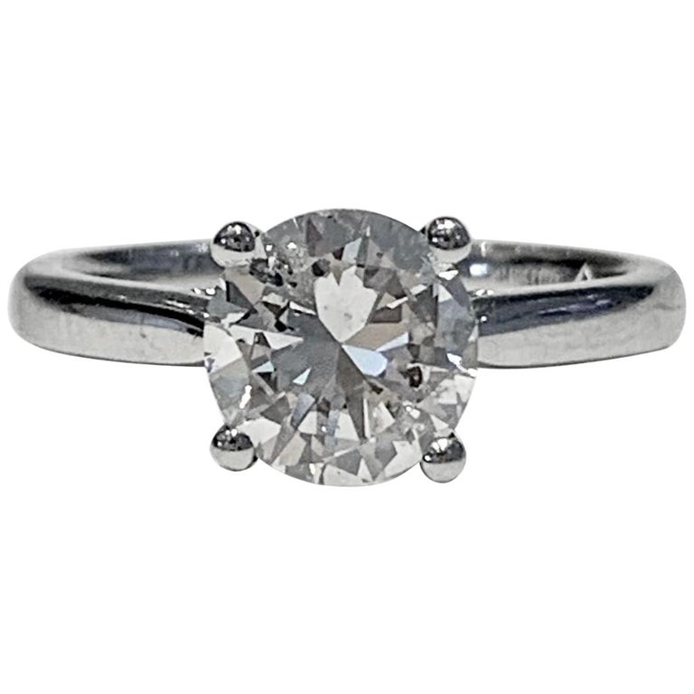 IGL Certified 1.64 Carat Brilliant Cut Diamond Set in a Platinum Ring For Sale