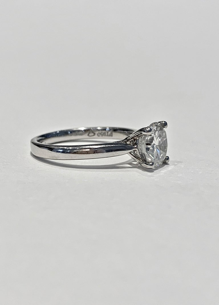 Round Cut IGL Certified 1.64 Carat Brilliant Cut Diamond Set in a Platinum Ring For Sale