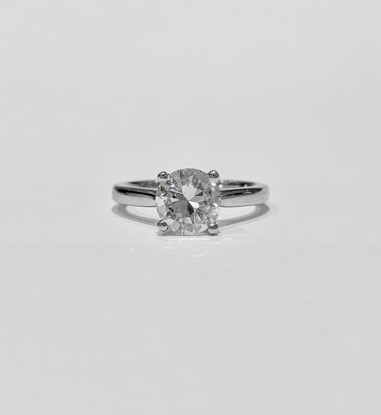 Women's IGL Certified 1.64 Carat Brilliant Cut Diamond Set in a Platinum Ring For Sale